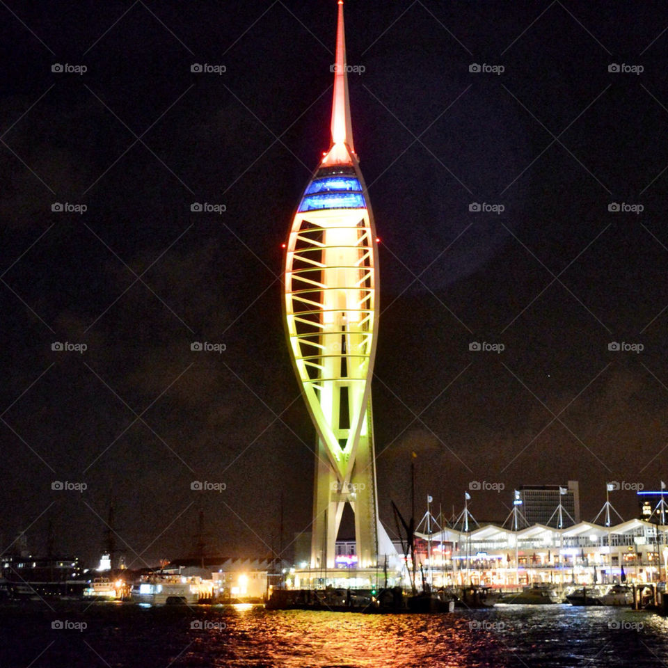portsmouth night lights sea by craigyman