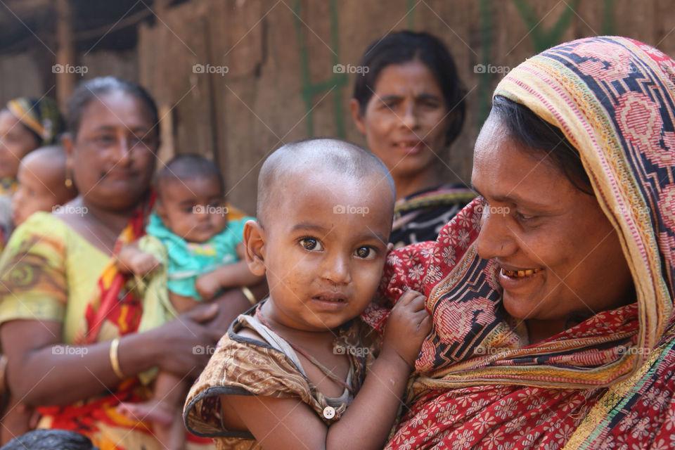 Newborn baby in slum