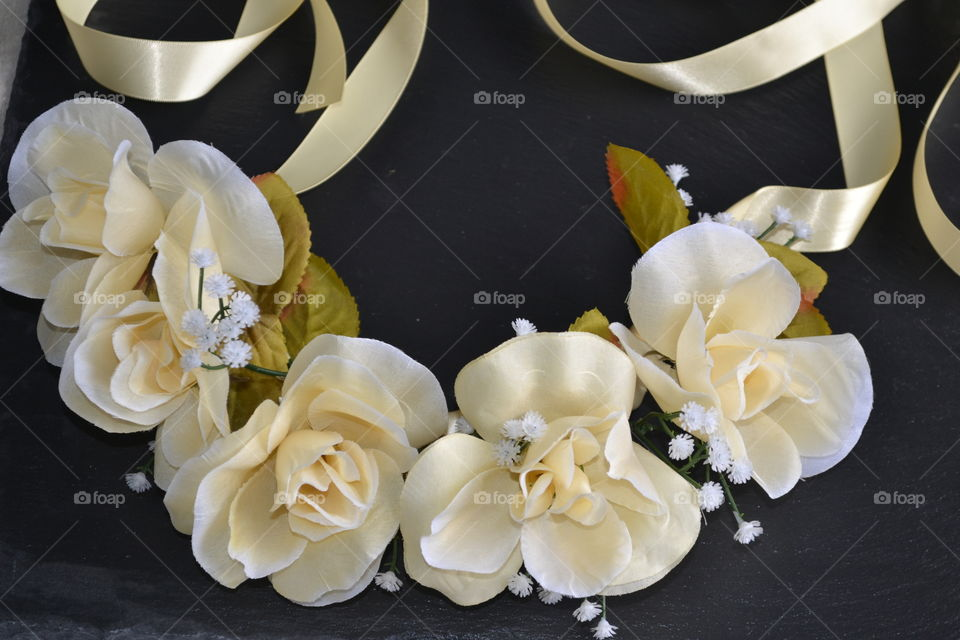 High angle view of artificial flowers