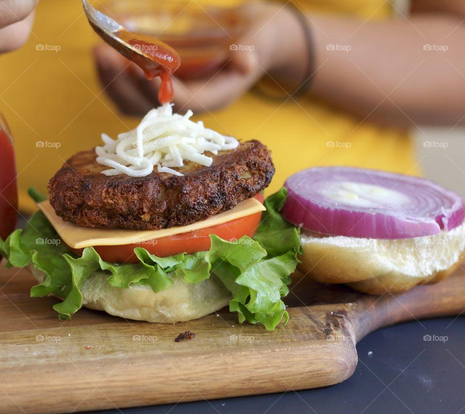 Making a burger at home