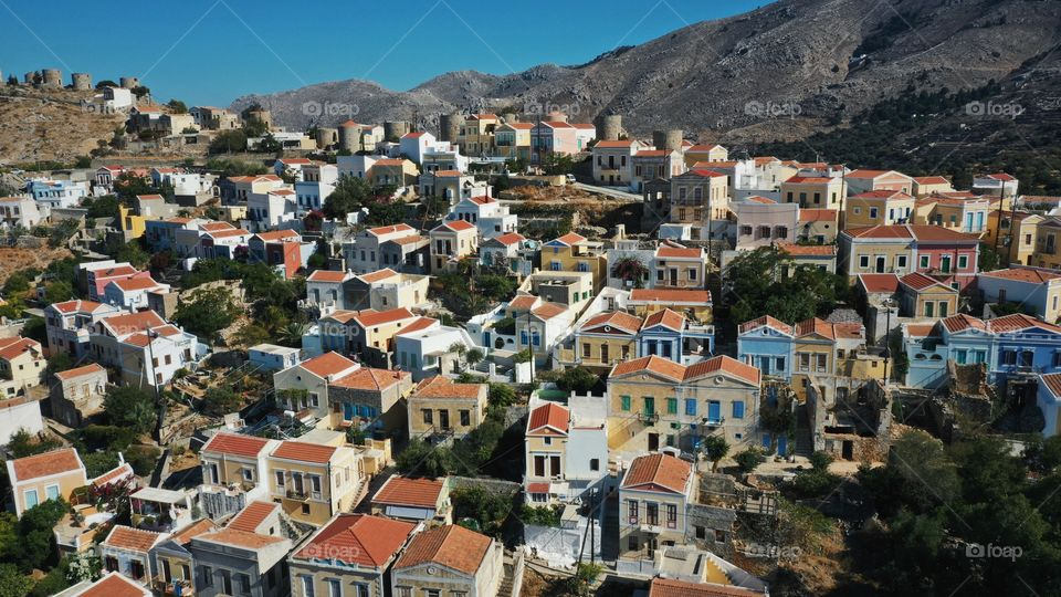 Aerial view of town in symi island