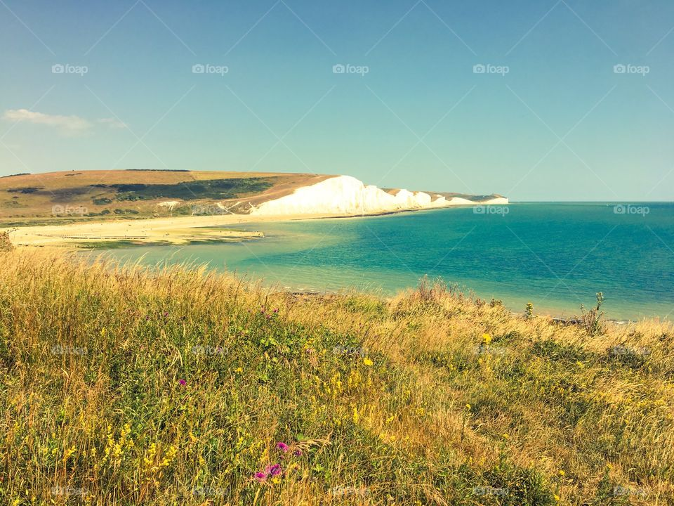 Seven Sisters seascape sussex England