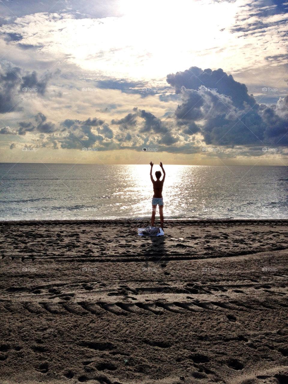 beach ocean woman alone by dee13