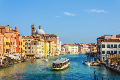 View of venice city houses and cathedral