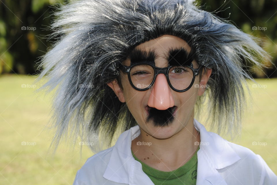 My son dressed as a mad scientist for school project