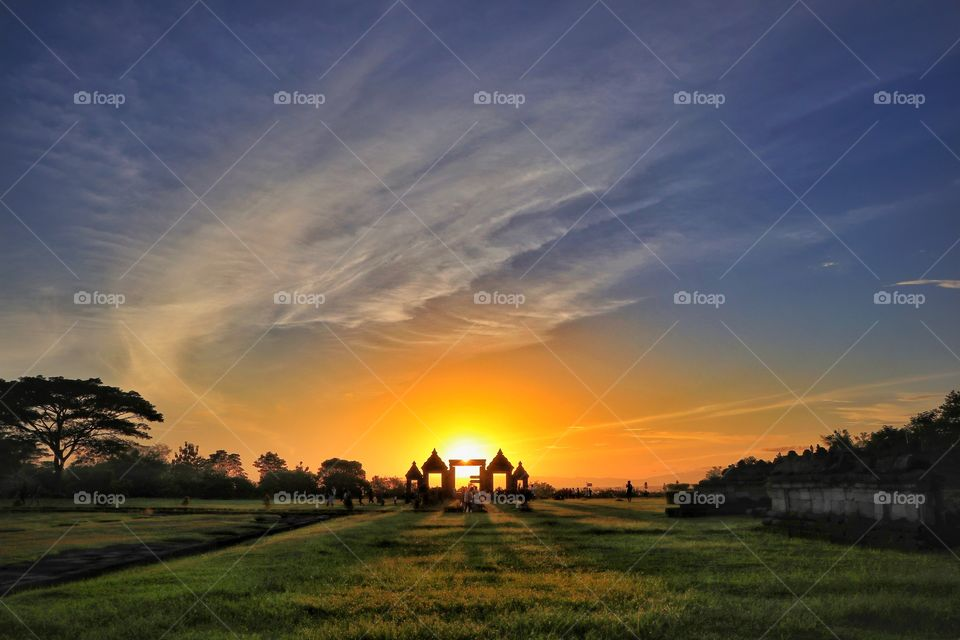 Sunset in archaelogical site of ratu boko palace, near Jogjakarta, Indonesia