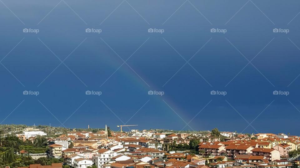 rainbow sea landscape evening