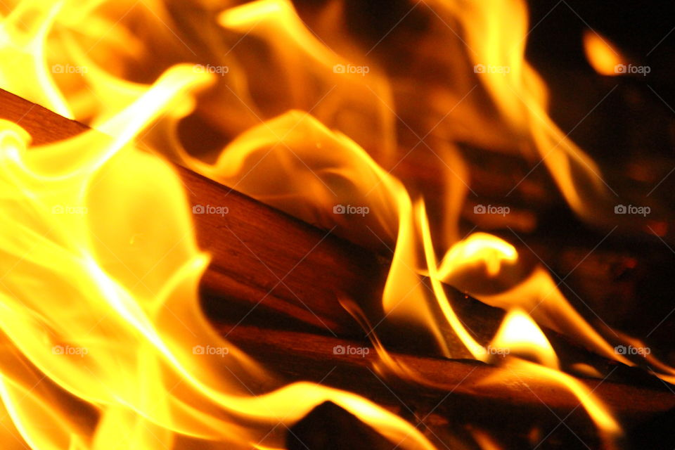 close up on campfire