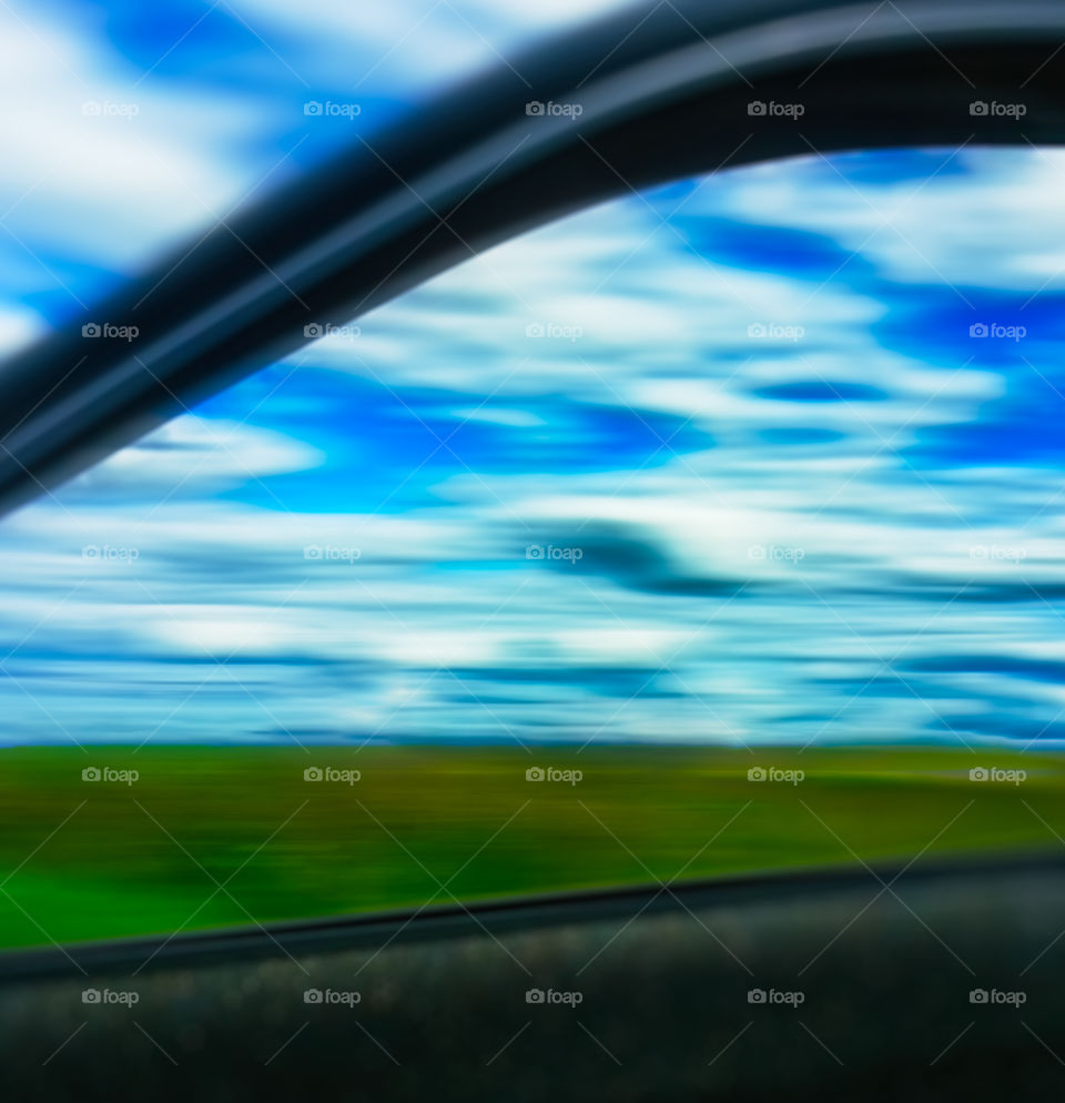 Abstract landscape from moving car window