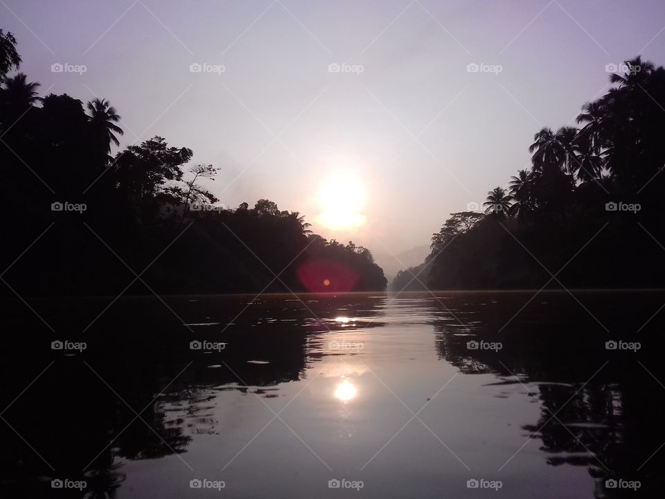 pure river with sunset