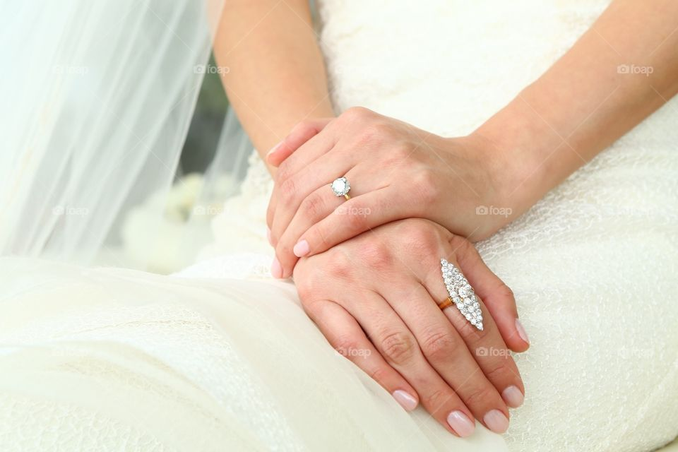 Btide and engagement ring. Diamond luxury jewel engagement bride wedding day ring white dress woman marry happy joy fun  together couple veil smile