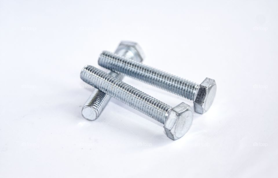 hex bolt on white background