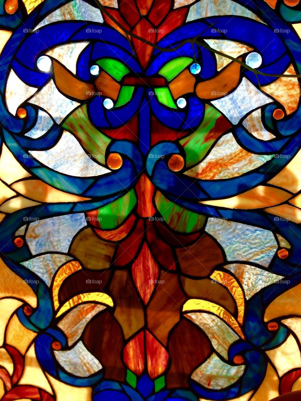 Stained Glass Panel, 2 ft x 4 ft in size! Heavy.