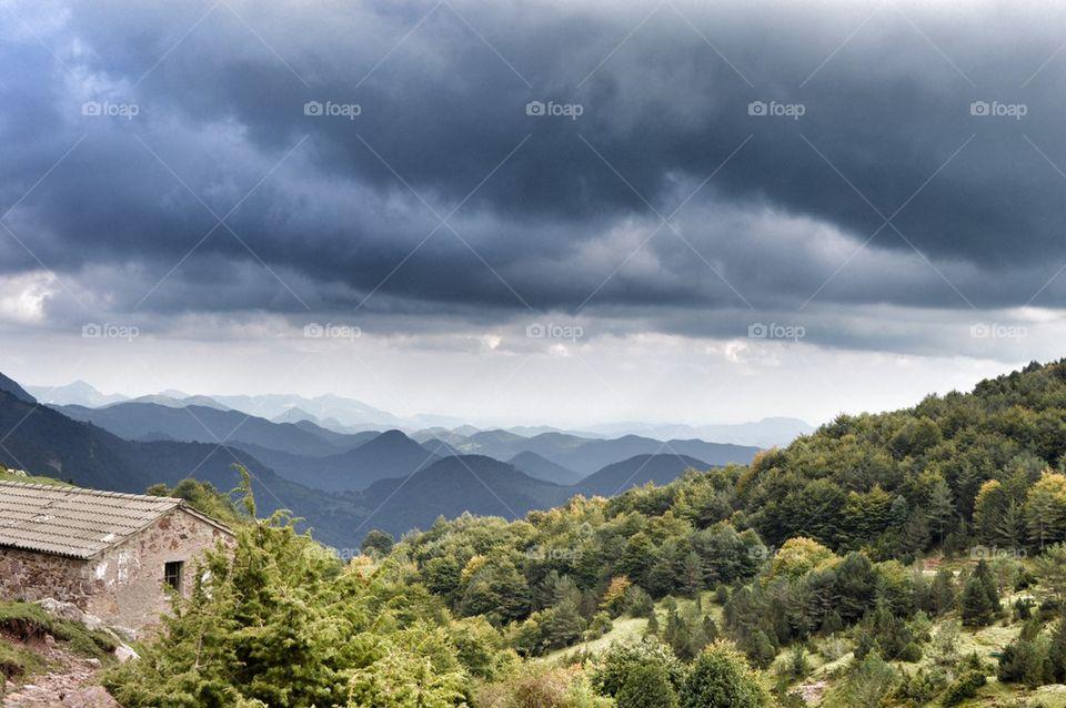 Mountain view | image, mountain, clouds, masia