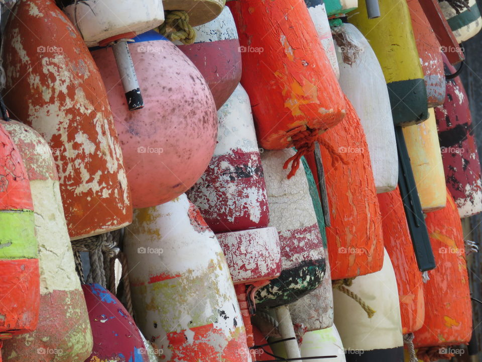 Full frame of colorful buoys
