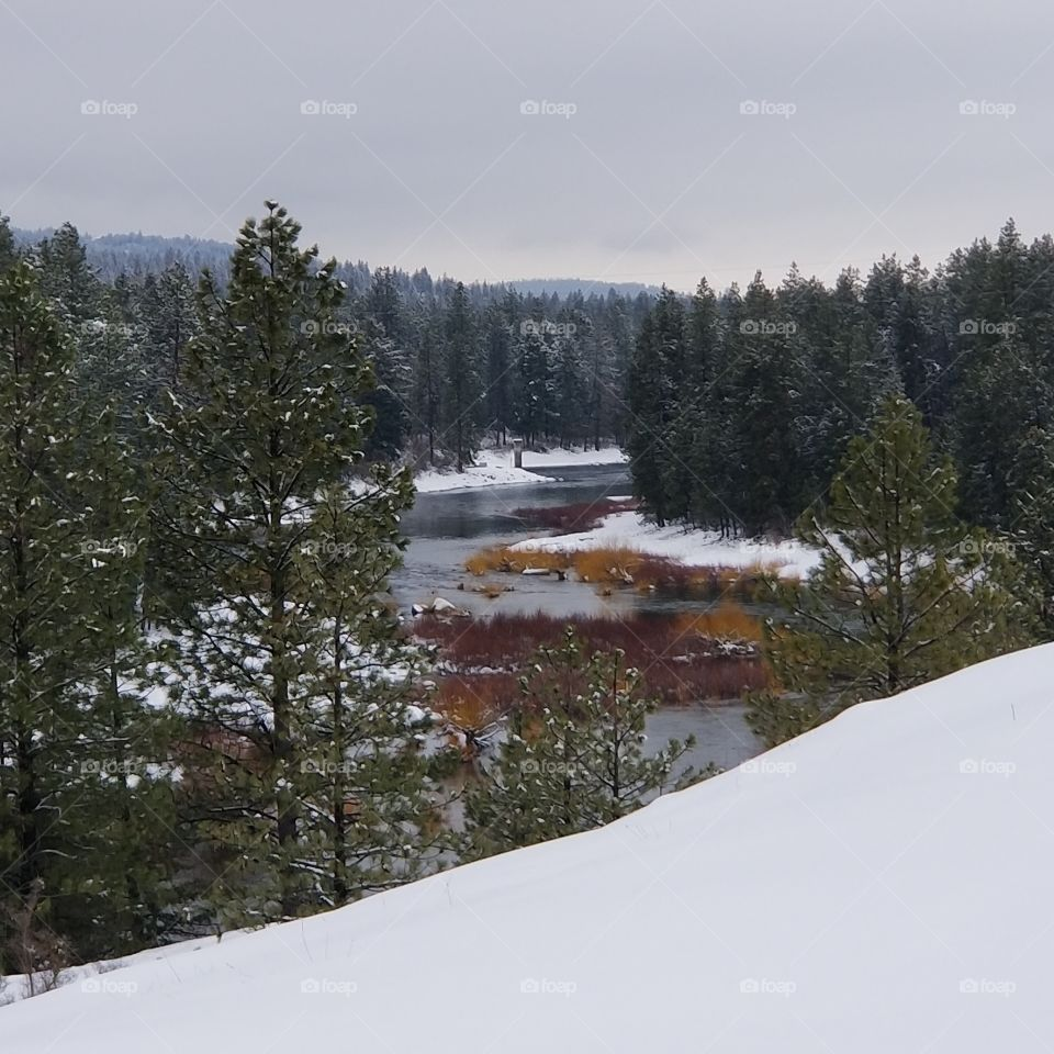 river view on a winter snow day