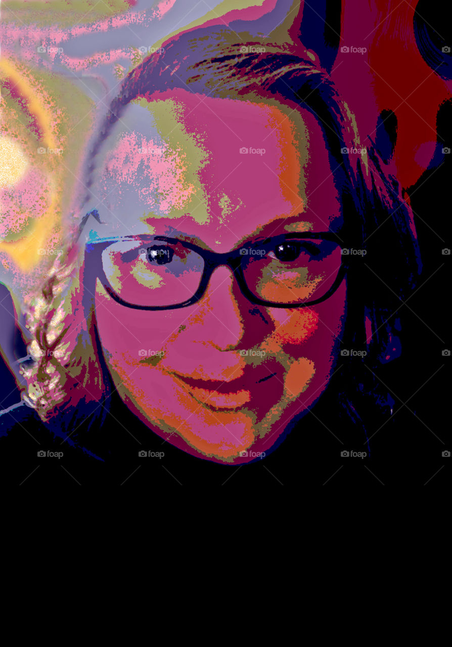 A posterized colourful selfie of moi. Used and abused the desktop tools to create this from a backlit shot. I love the colours - they hide a lot of imperfections or maybe make me look like I have some strange skin disease!!! Beholder's eyes! Lol!!! ❤️