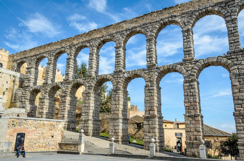 The roman aqueduct of Segovia, Spain is placed in the center of the city