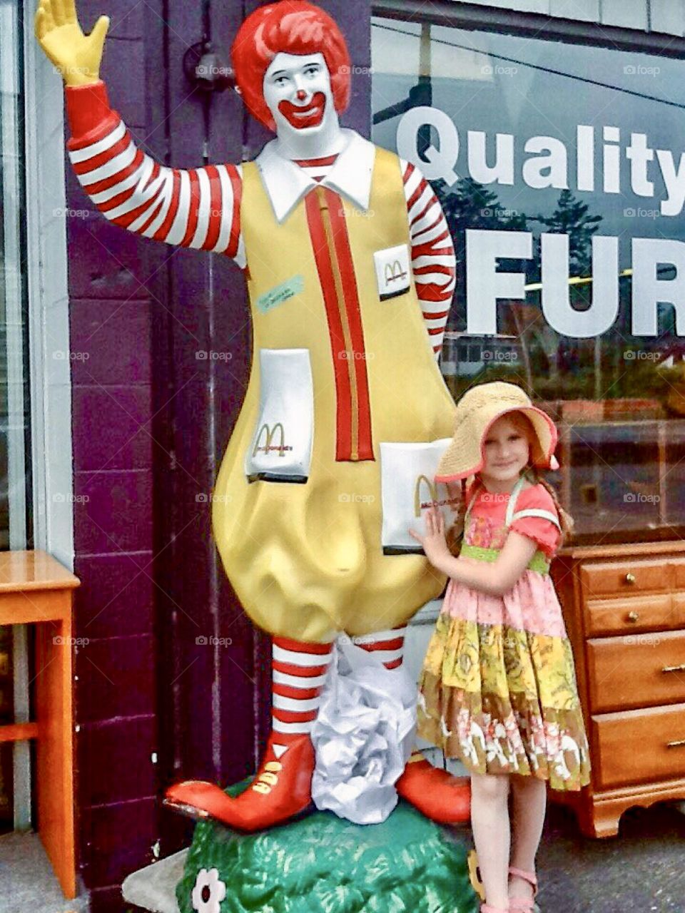 Retro Ronald McDonald statue for sale at second-hand store