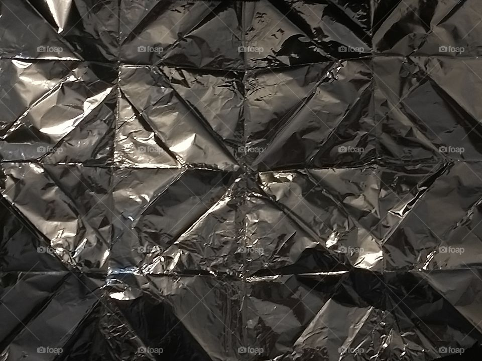 Extreme close-up of aluminium foil