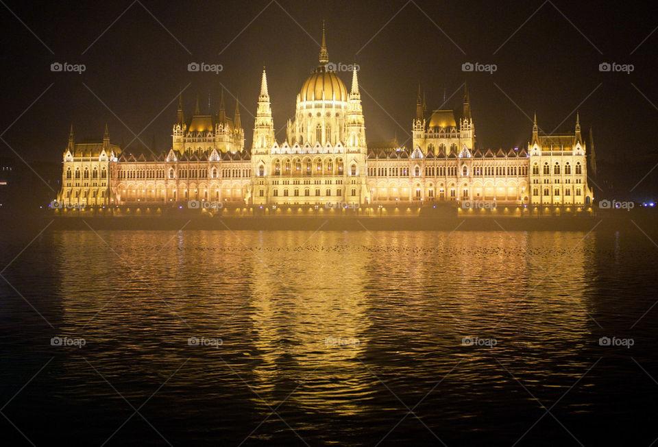 Illuminated parliament at night