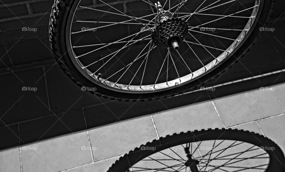 Bicycle wheel and its shadow
