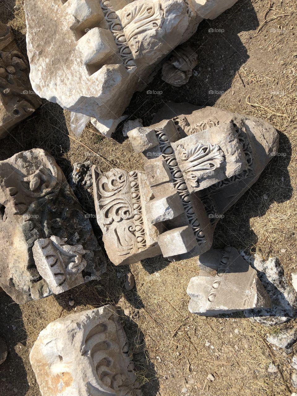 (Blandus ancient city) ancient period decorations and columns