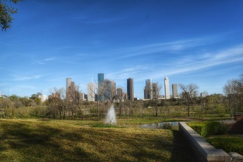 Park in front of city skyline