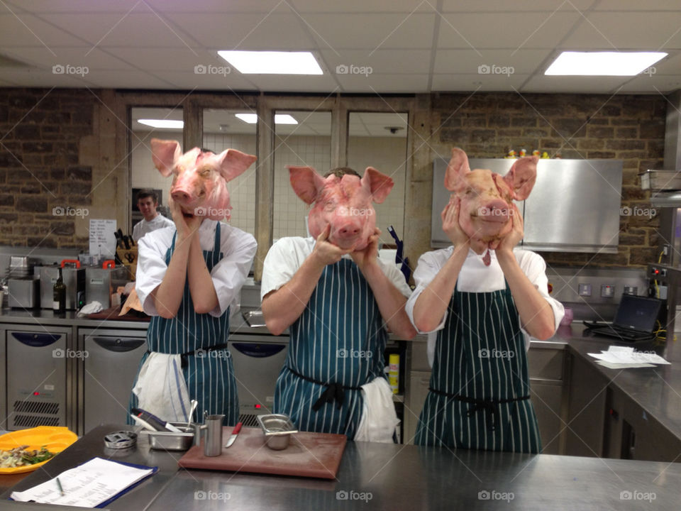 kitchen funny work pig by benrowland101