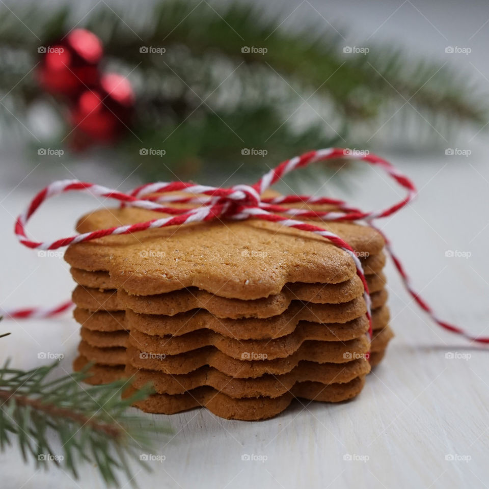 Stack of cookies with ribbon