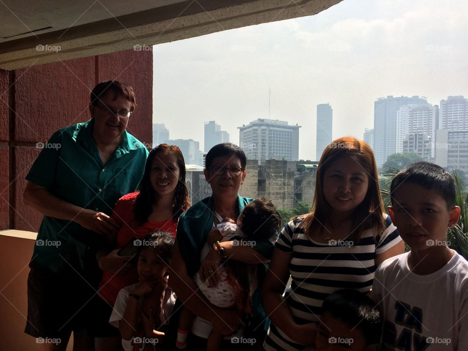On holiday in Manila with my family,with fabulous view of the capital in the background.