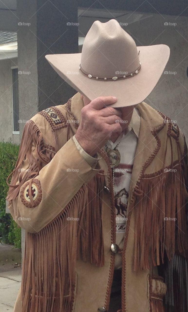 Senior Cowboy in Fringed Western Jacket. Senior Cowboy in Fringed Western Jacket