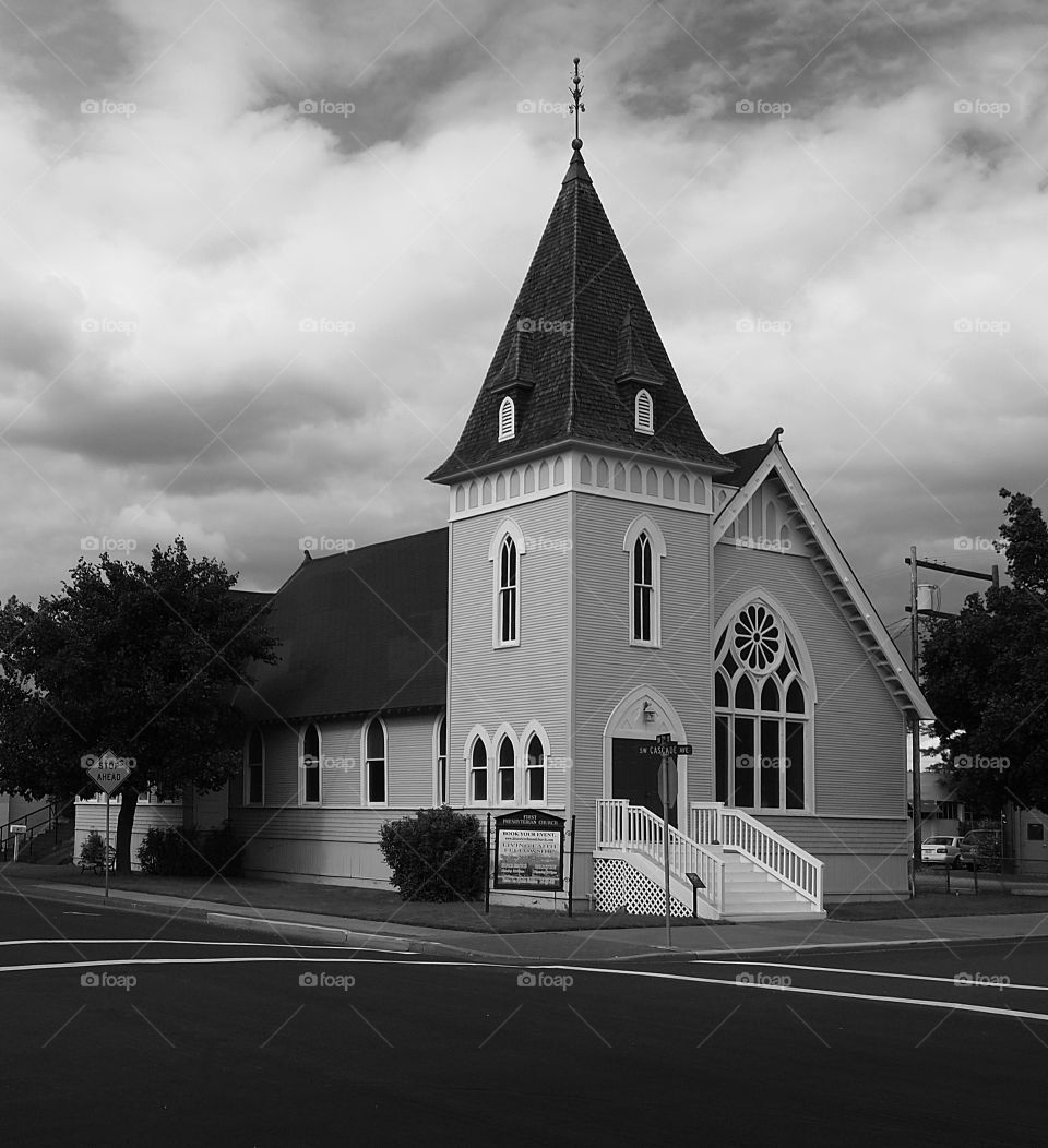 The old church in Redmond in Central Oregon on a summer evening.