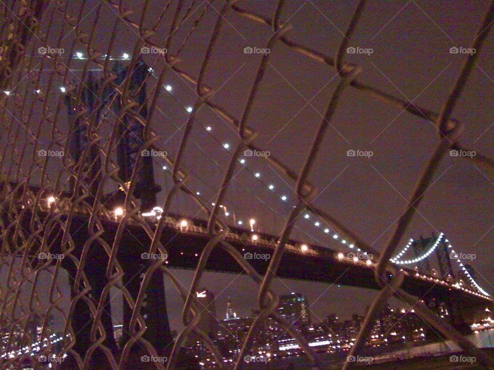 Brooklyn Bridge from DUMBO. The Brooklyn Bridge at night taken from DUMBO, Brooklyn