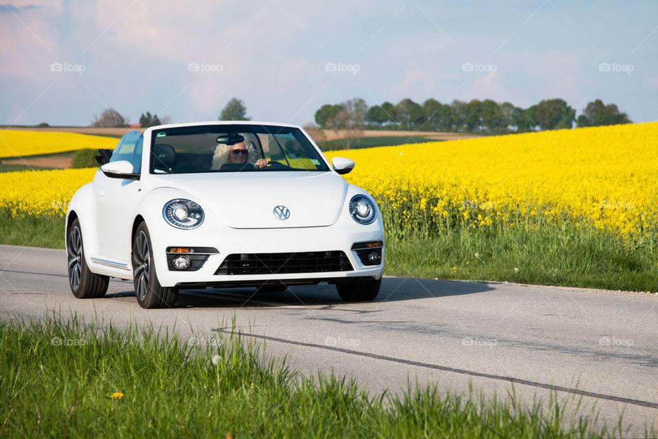Vw bug driving through Germany
