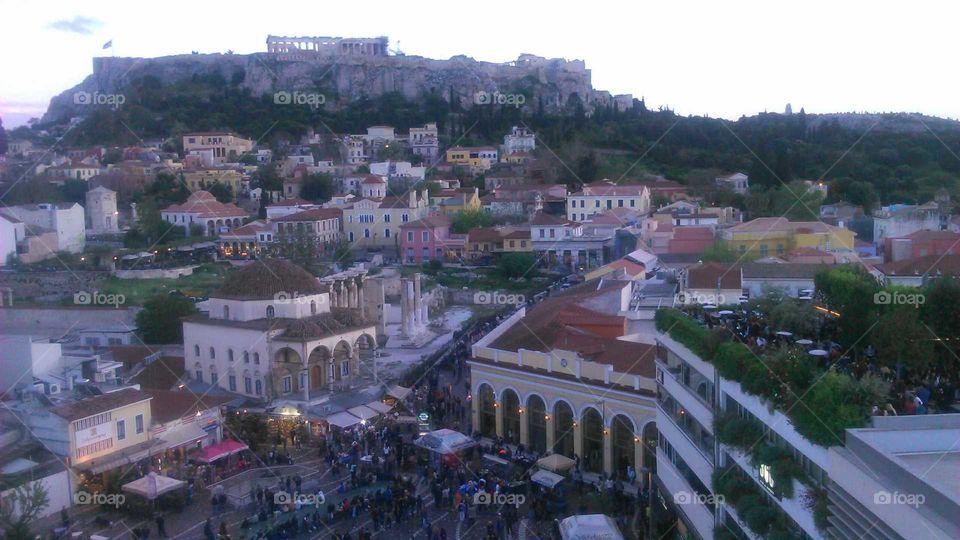 Acropolis and Monastiraki Square, Athens, Greece