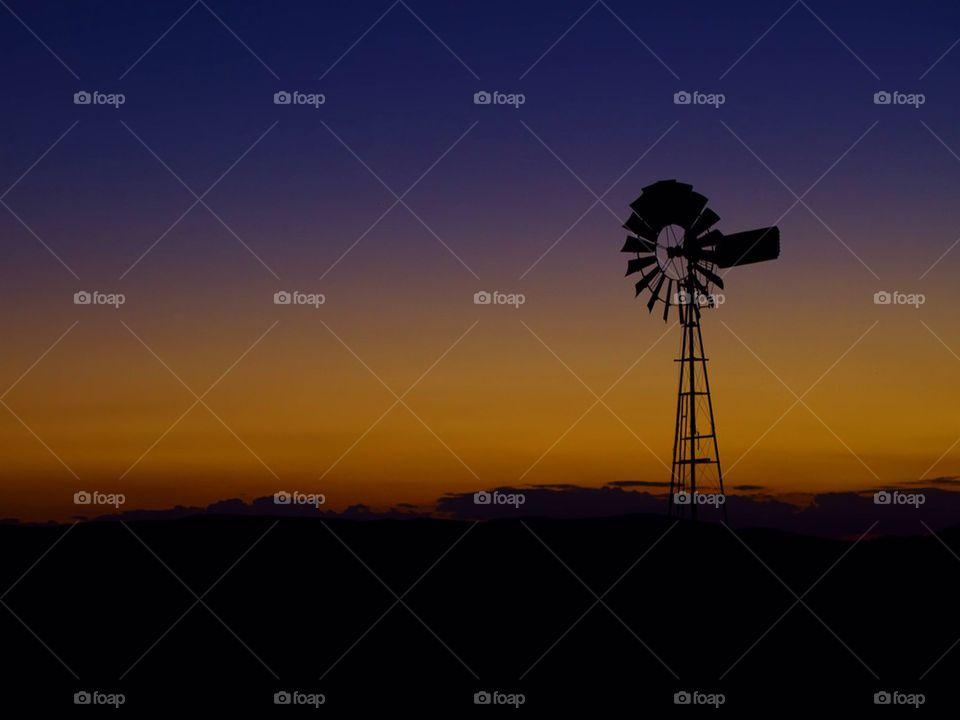 Windmill at sunset