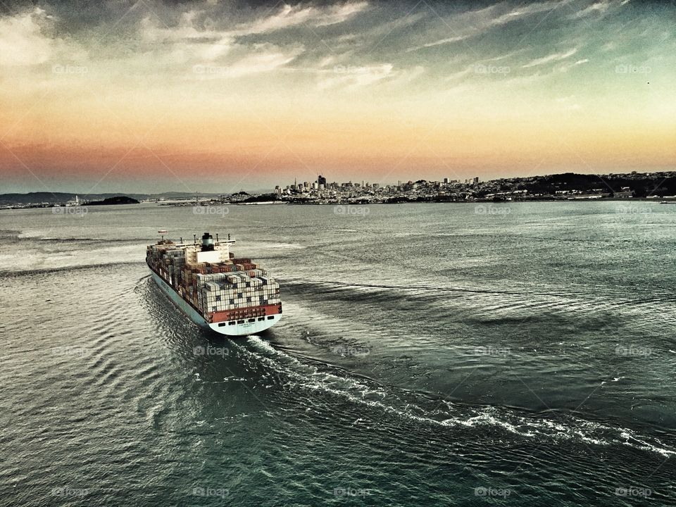 Freighter traveling through the San Francisco Bay.