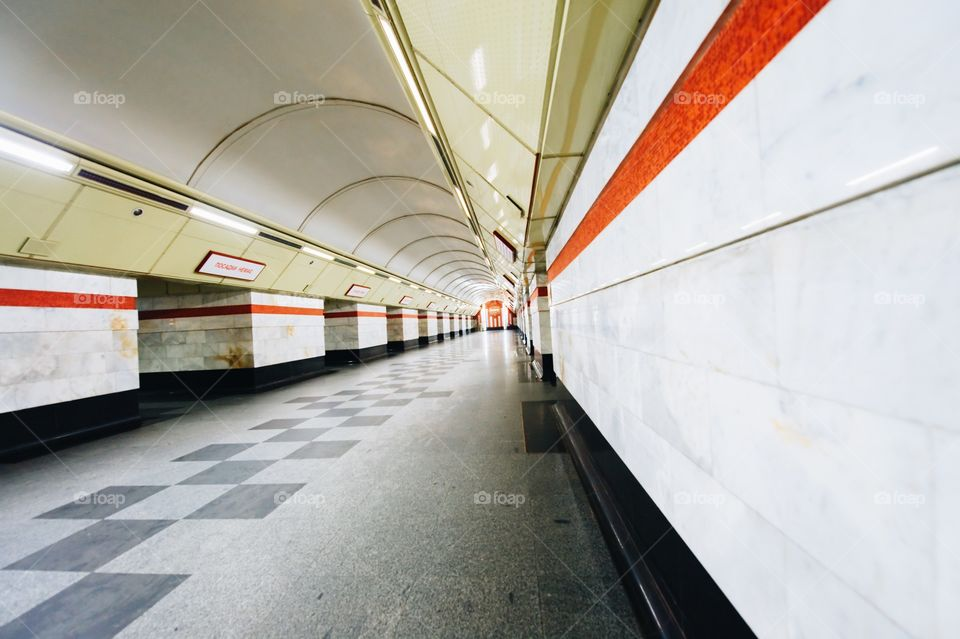 tunnel, underground passage, leading, metro, subway, rails, horizon, ride, train, escalator, subway,