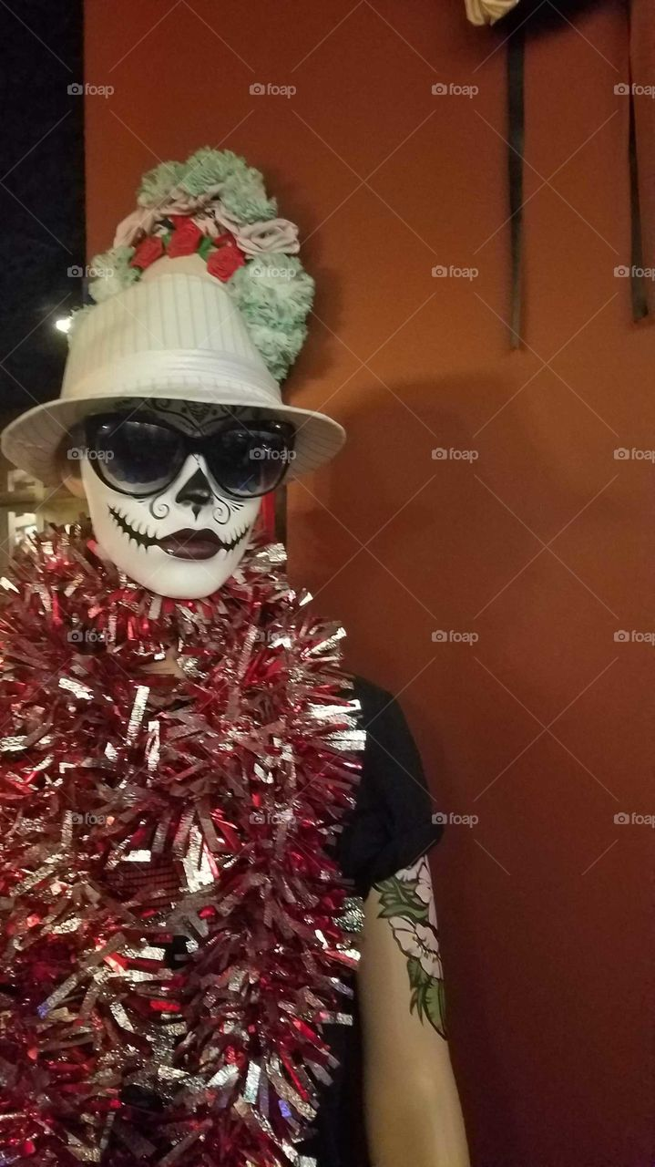 Mannequin dressed as day of the dead