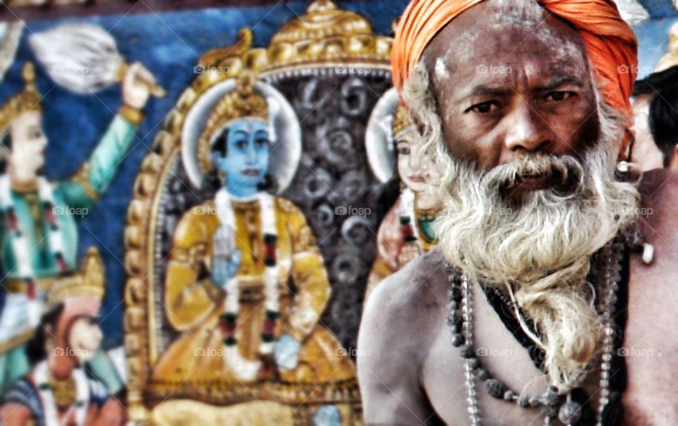 Indian man looking into camera, Varanasi . Indian man looking into camera
