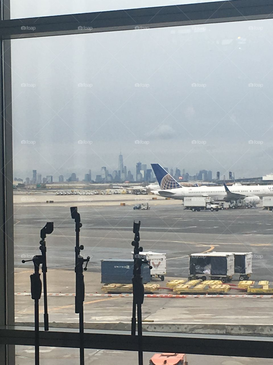 Layover in Newark, NJ with a view of Manhattan in the distance.