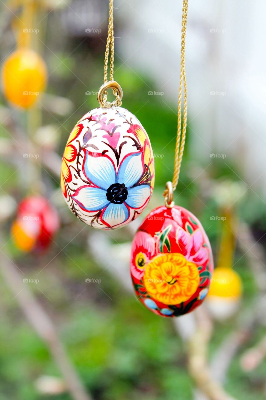 View of hanging easter eggs