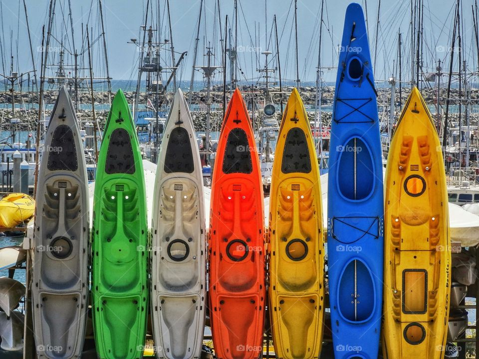 Colorful Sea Kayaks
