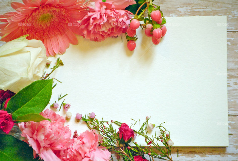 Spring, flowers, floral border, flower border, flat lay, white paper, wooden background, pink flowers and leaves, carnations, landscape orientation