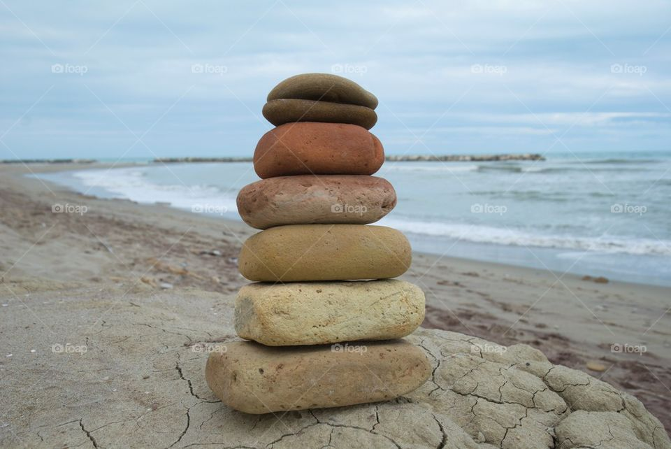Stones stacked at beach