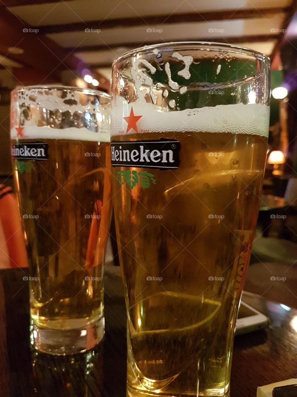 heineken beer in the pub