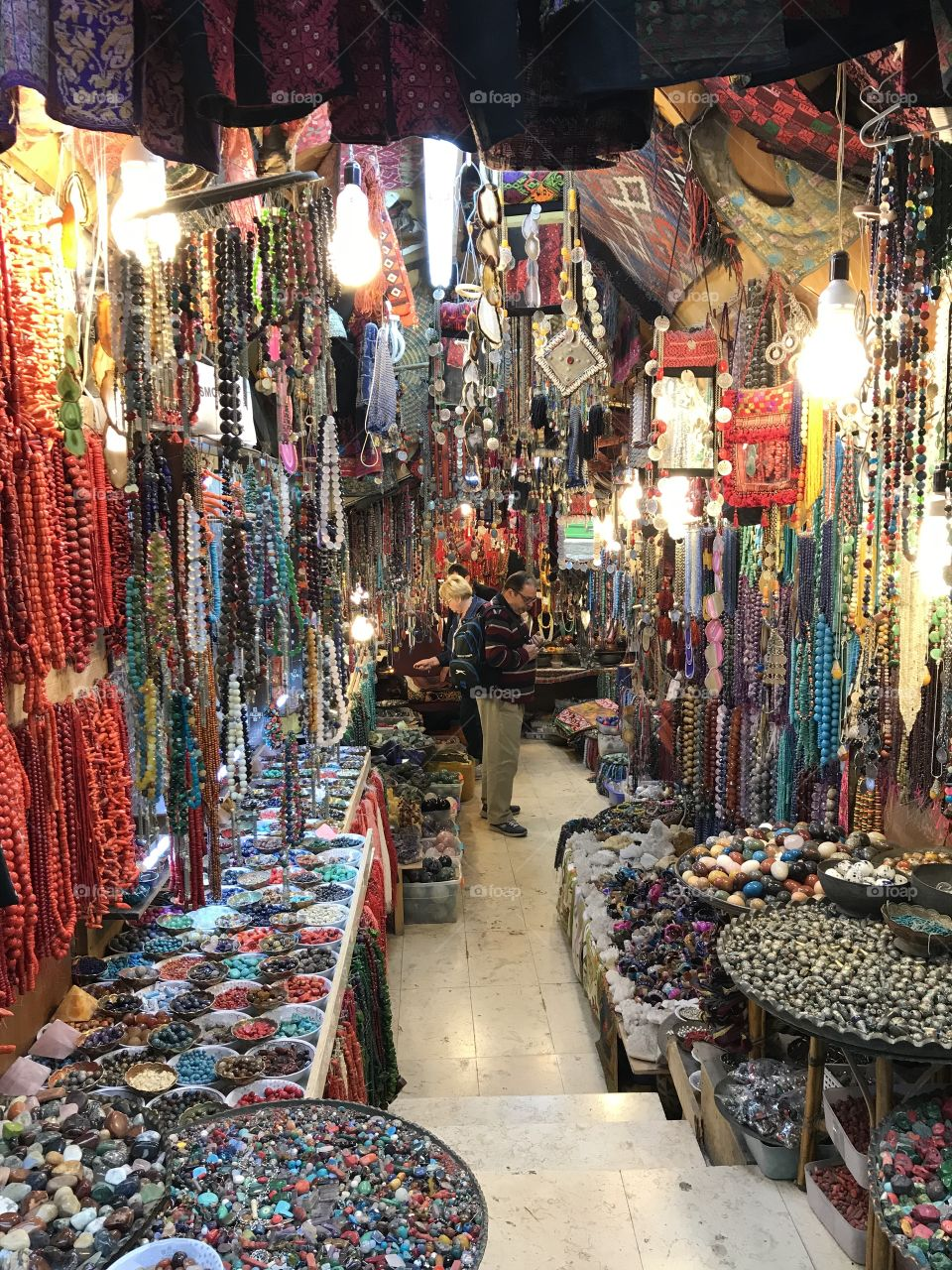 Colorful market in the Christian Quarter of the old City of Jerusalem, Israel.