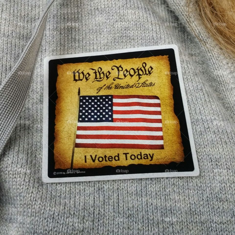 We the People American flag sticker early voting I voted today woman election rights civic duty privilege voice