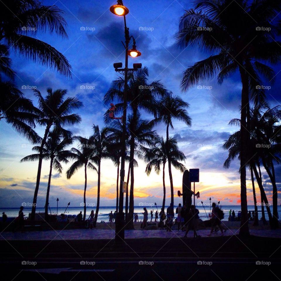 The Sunset at Waikiki Beach